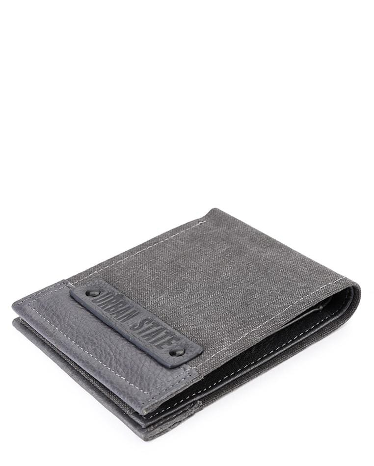 Canvas Top Grain Leather Bi-Fold Wallet - Black Wallets - Urban State Indonesia