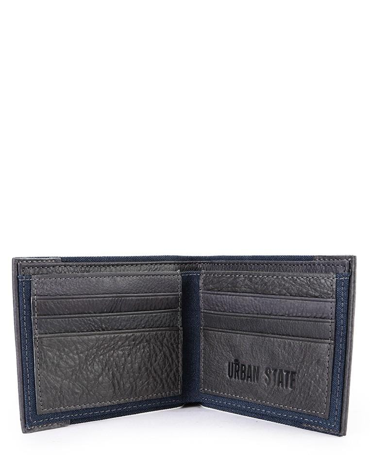 Canvas Top Grain Leather Bi-Fold Wallet - Navy Wallets - Urban State Indonesia