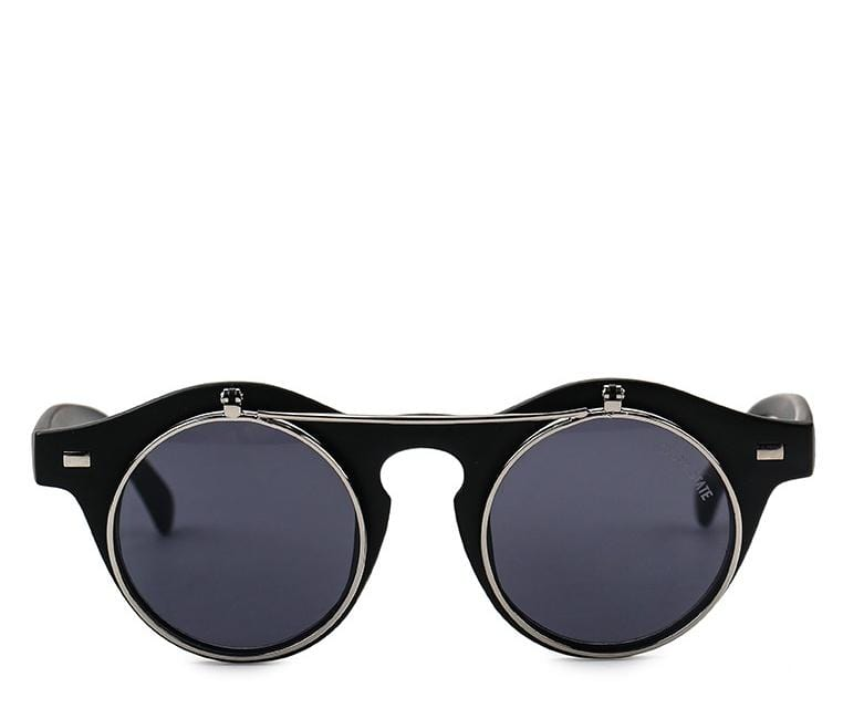 Clip On Double Lens Round Steampunk Sunglasses - Black Black Sunglasses - Urban State Indonesia