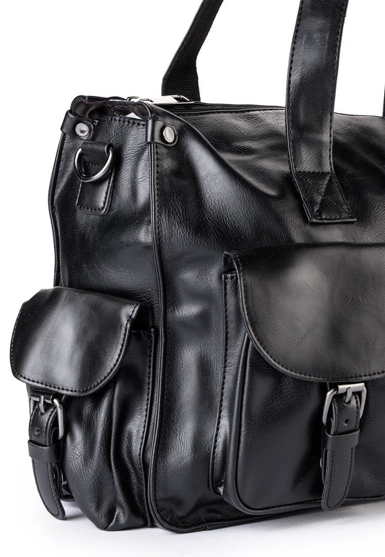 Distressed Leather Pocket Duffel Bag - Black Duffel Bags - Urban State Indonesia