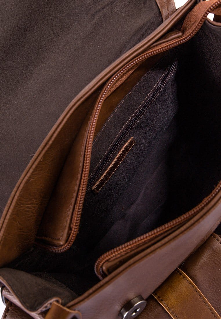 Distressed Leather Pocket Small Messenger Bag - Camel Messenger Bags - Urban State Indonesia