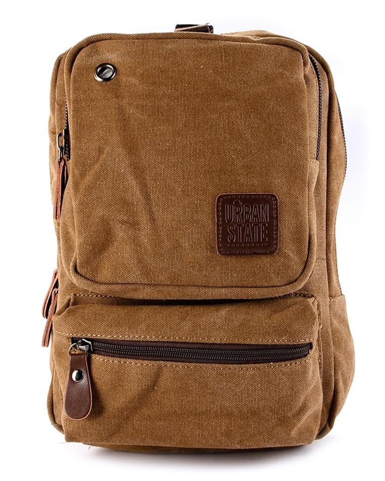 Canvas Zipper Ring Medium Slingbag - Brown Slingbags - Urban State Indonesia