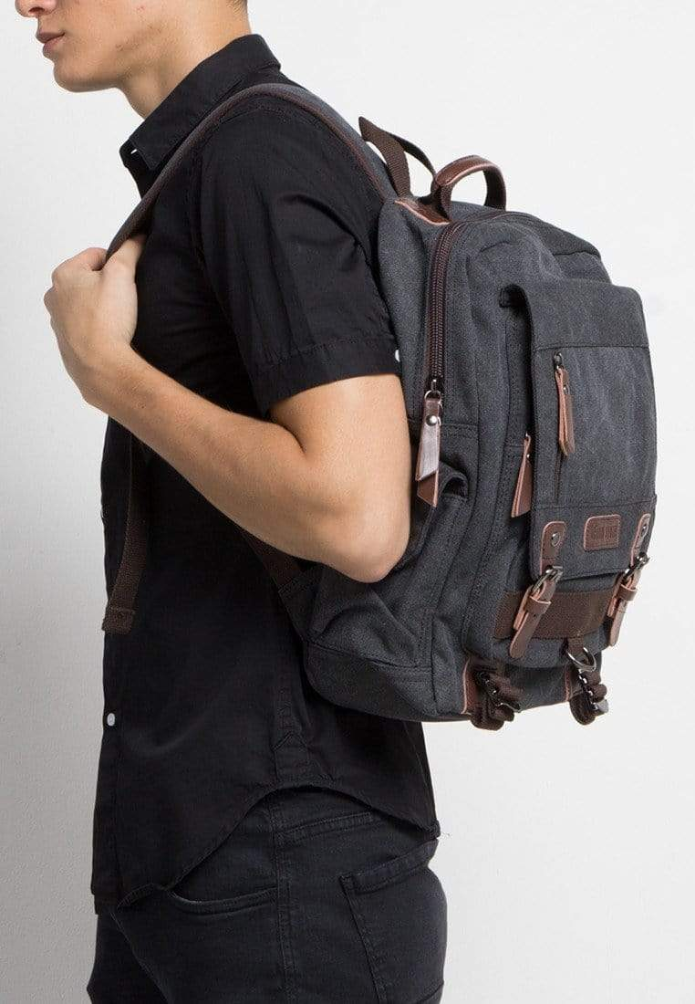 Canvas PU Buckle Backpack - Black Backpacks - Urban State Indonesia