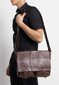 Distressed Leather EDC Medium Messenger Bag - Dark Brown Messenger Bags - Urban State Indonesia