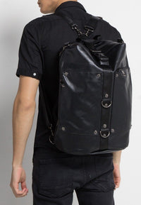 Distressed Leather Convertible Duffel Backpack - Black Backpacks - Urban State Indonesia