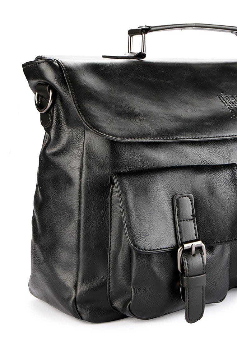Distressed Leather Pocket Office Bag - Black Messenger Bags - Urban State Indonesia