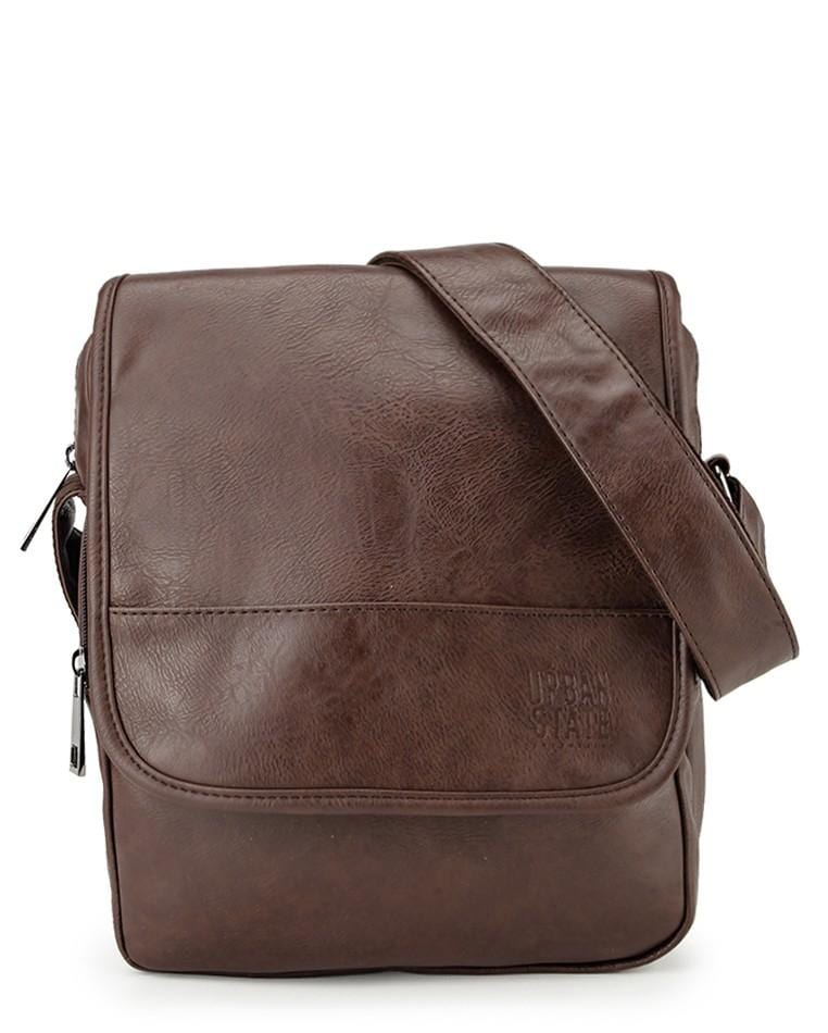 Distressed Leather Courier Crossbody Bag - Dark Brown Messenger Bags - Urban State Indonesia