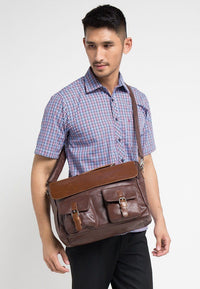 Distressed Leather Pocket Flap Messenger Bag - Dark Brown Messenger Bags - Urban State Indonesia