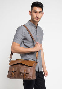 Distressed Leather Pocket Office Bag - Camel Messenger Bags - Urban State Indonesia