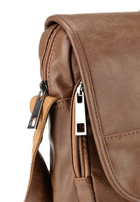 Distressed Leather Courier Crossbody Bag - Camel Messenger Bags - Urban State Indonesia