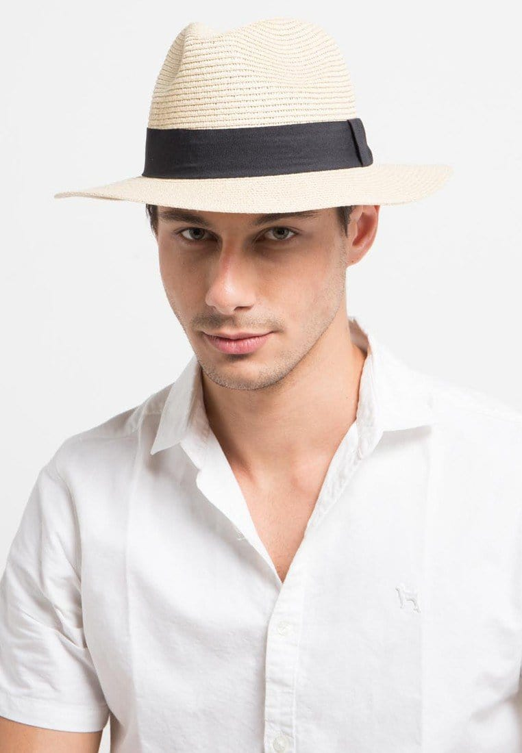 Straw Summer Fedora Hat - Cream