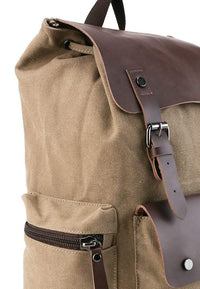 Canvas PU Buckled Flap Backpack - Khaki