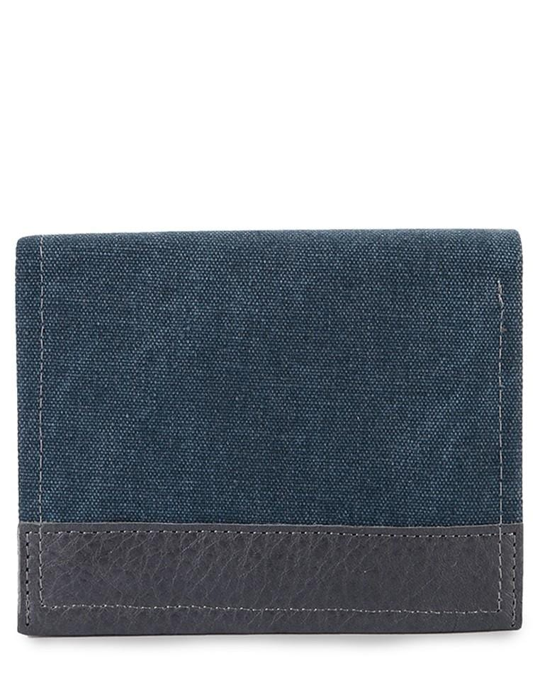 Bi-Fold Canvas Top Grain Leather Wallet - Navy Wallets - Urban State Indonesia