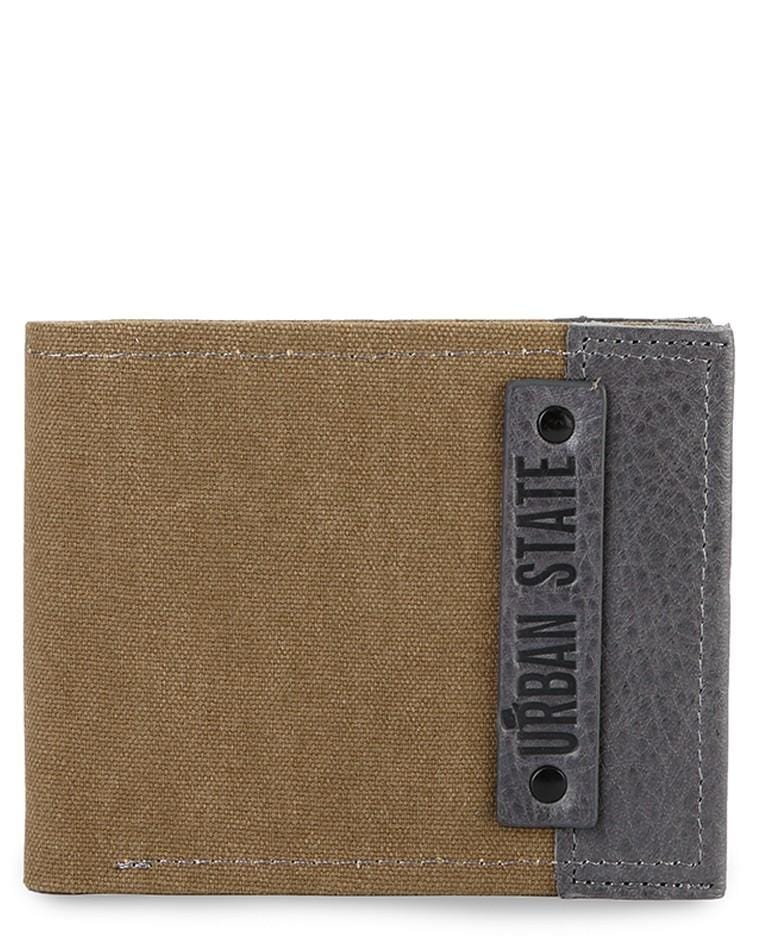 Canvas Top Grain Leather Bi-Fold Wallet - Brown Wallets - Urban State Indonesia