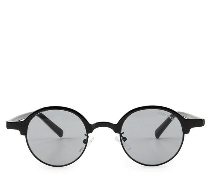 Retro Half Frame Sunglasses - Black Black