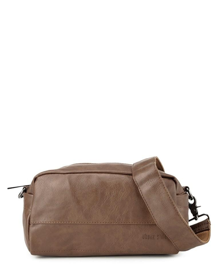 Distressed Leather Crossbody Pouch - Camel Messenger Bags - Urban State Indonesia
