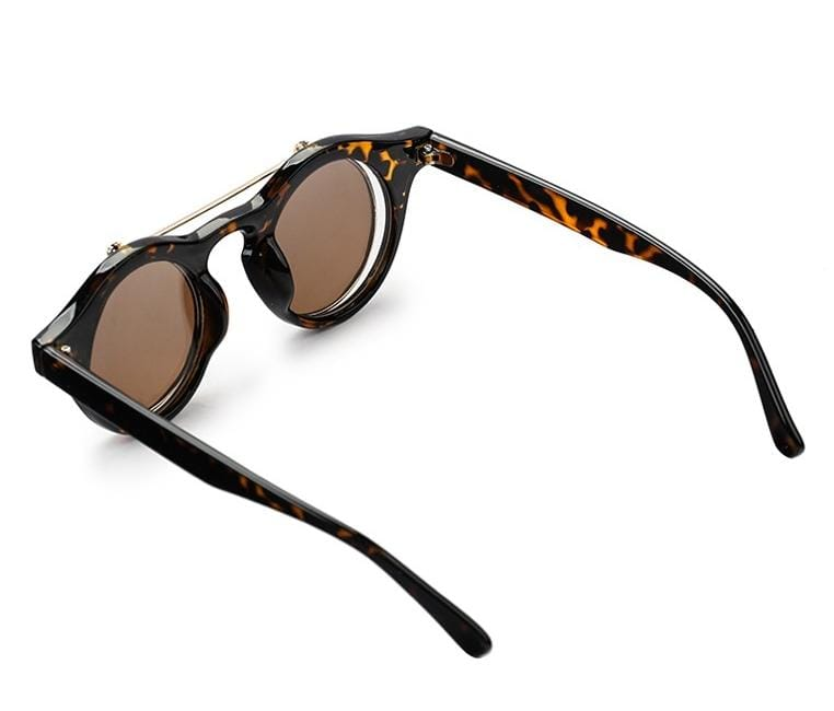 Clip On Double Lens Round Steampunk Sunglasses - Brown Sunglasses - Urban State Indonesia