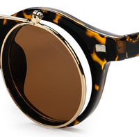 Clip On Double Lens Round Steampunk Sunglasses - Brown Leopard Sunglasses - Urban State Indonesia