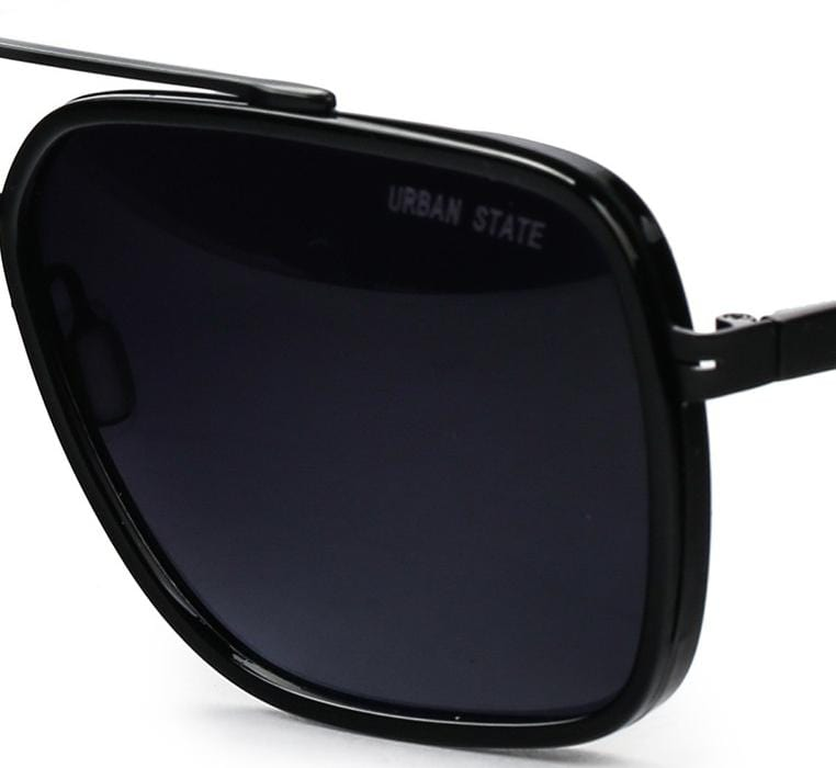 Polarized Rectangular Aviator Sunglasses - Black Black Sunglasses - Urban State Indonesia