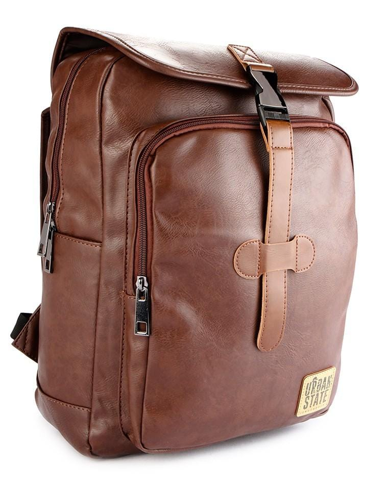 Distressed Leather Panel Backpack - Dark Brown Backpacks - Urban State Indonesia