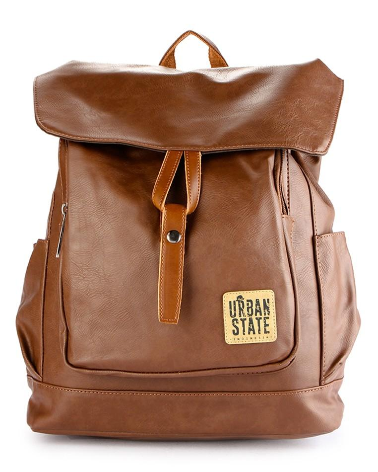 Distressed Leather Knot Tie Backpack - Camel Backpacks - Urban State Indonesia
