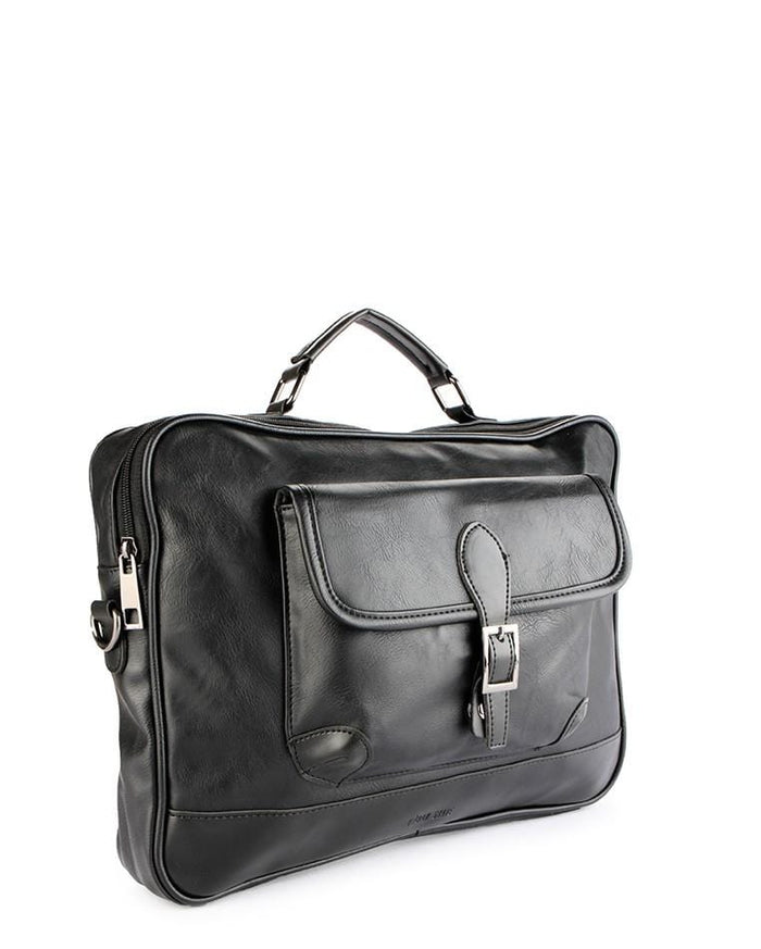 Distressed Leather Laptop Bag - Black Messenger Bags - Urban State Indonesia