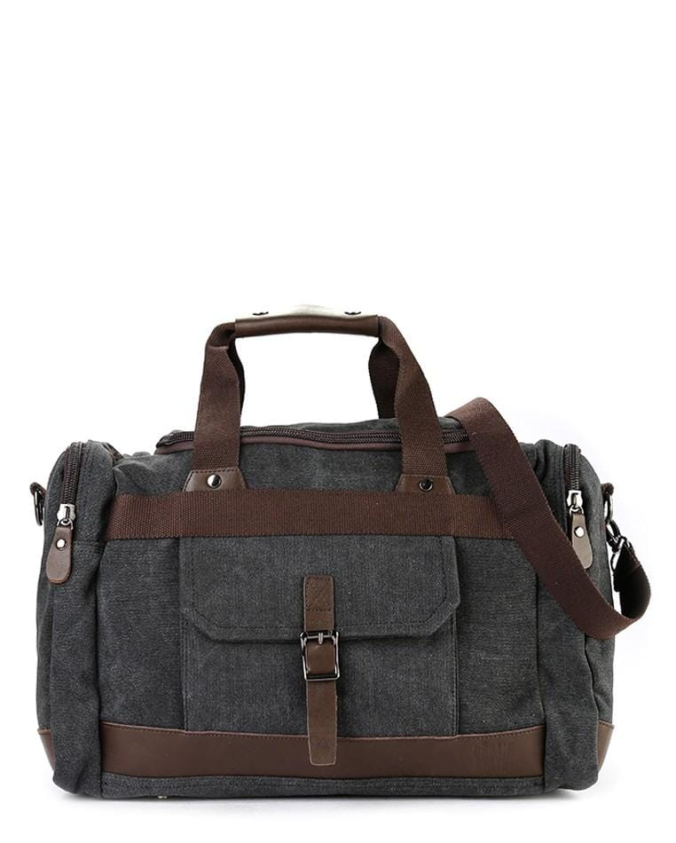 Canvas Buckled Duffel Bag - Black Duffel Bags - Urban State Indonesia