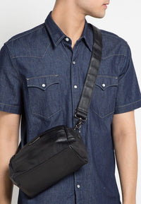 Distressed Leather Crossbody Pouch - Black Messenger Bags - Urban State Indonesia