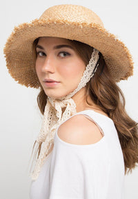 Frayed Bowknot Strappy Straw Hat - Cream Fedora Hat - Urban State Indonesia