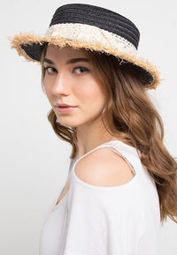 Frayed Lace Boater Hat - Black Fedora Hat - Urban State Indonesia
