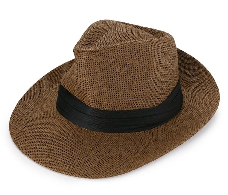 Straw Wide Brim Panama Hat - Brown