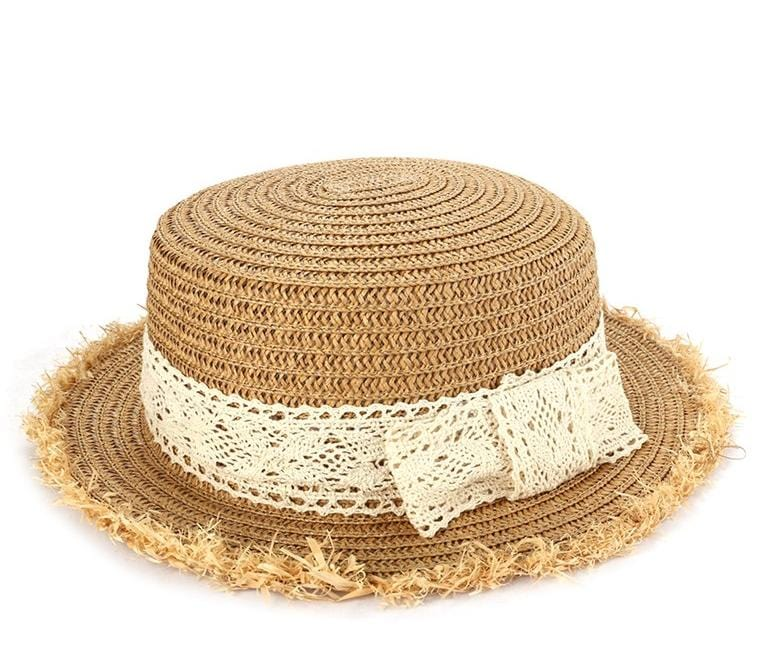 Frayed Lace Boater Hat - Beige Fedora Hat - Urban State Indonesia