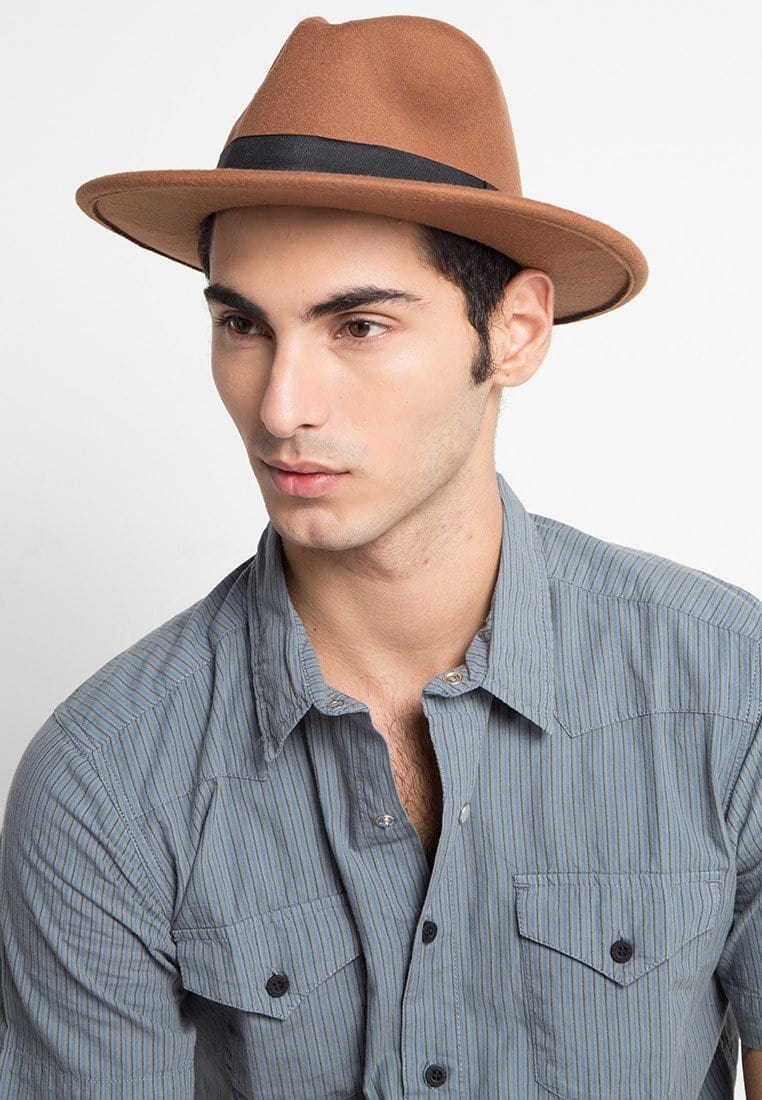 Flat Brim Fedora Hat - Brown Fedora Hat - Urban State Indonesia