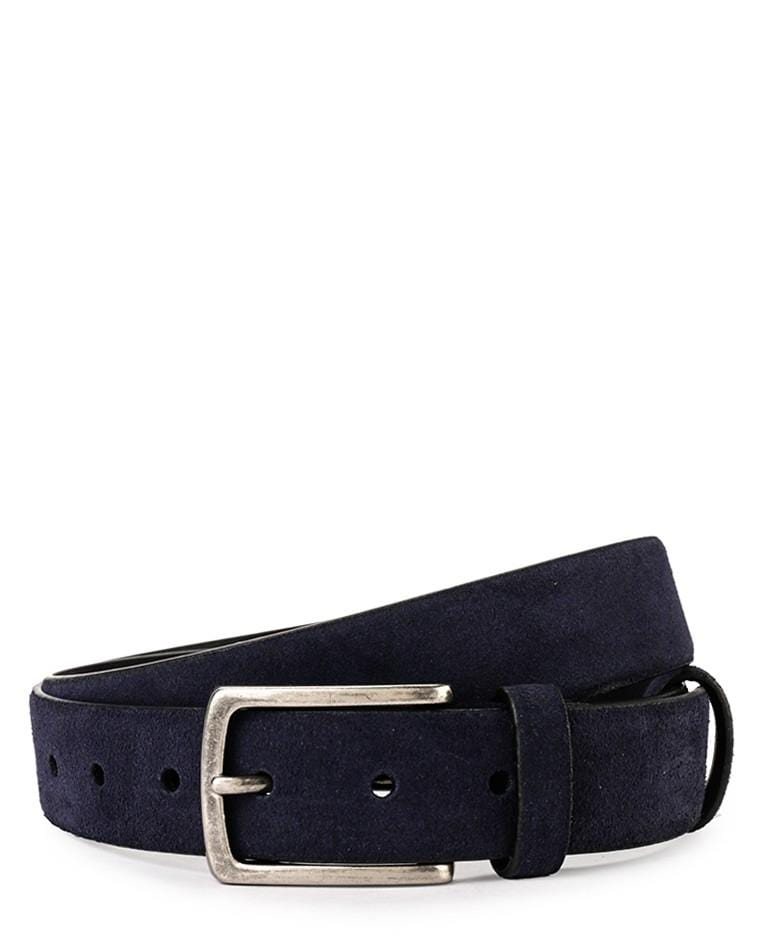 Suede Slim Pin Buckle Top Grain Leather Belt - Navy Belts - Urban State Indonesia