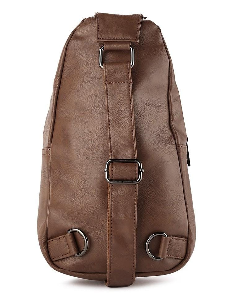 Distressed Leather Buckle Slingbag - Camel Slingbags - Urban State Indonesia