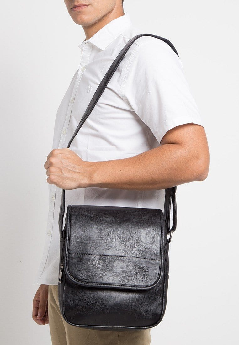 Distressed Leather Courier Crossbody Bag - Black Messenger Bags - Urban State Indonesia