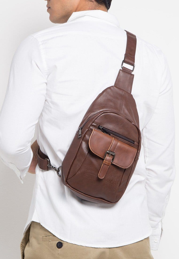 Distressed Leather Buckle Slingbag - Dark Brown Slingbags - Urban State Indonesia