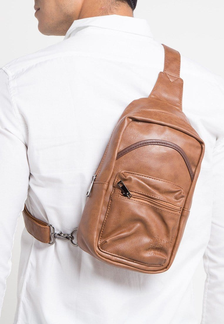 Distressed Leather Zipper Slingbag - Camel Slingbags - Urban State Indonesia
