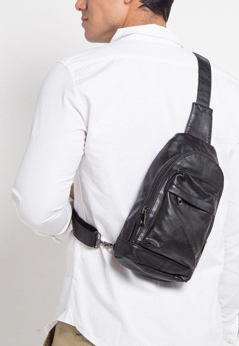 Distressed Leather Dome Slingbag - Black Slingbags - Urban State Indonesia