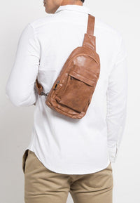 Distressed Leather Dome Slingbag - Camel Slingbags - Urban State Indonesia