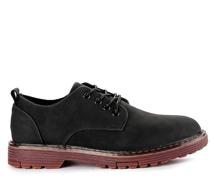 Lace Up Flat Casual Derby Shoes - Black Derby - Urban State Indonesia