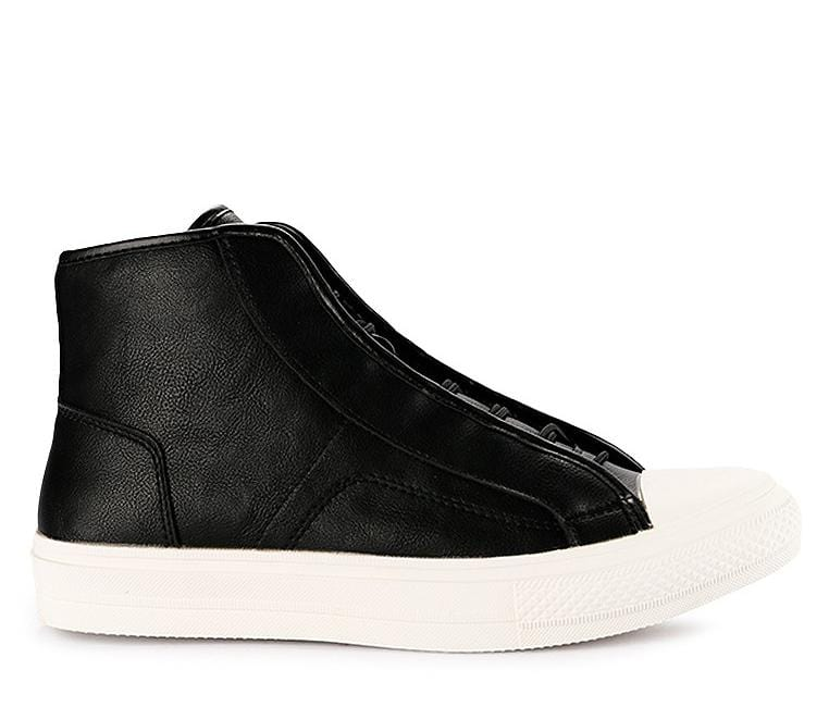 Drawstring Lace Up High Top Sneakers - Black Sneaker - Urban State Indonesia