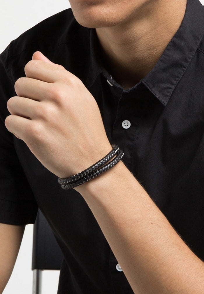 Double-Wrap Leather Bracelet - Black Silver Bracelets - Urban State Indonesia