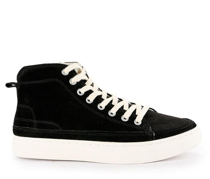 Zipped Lace Up High Top Sneakers - Black Sneaker - Urban State Indonesia