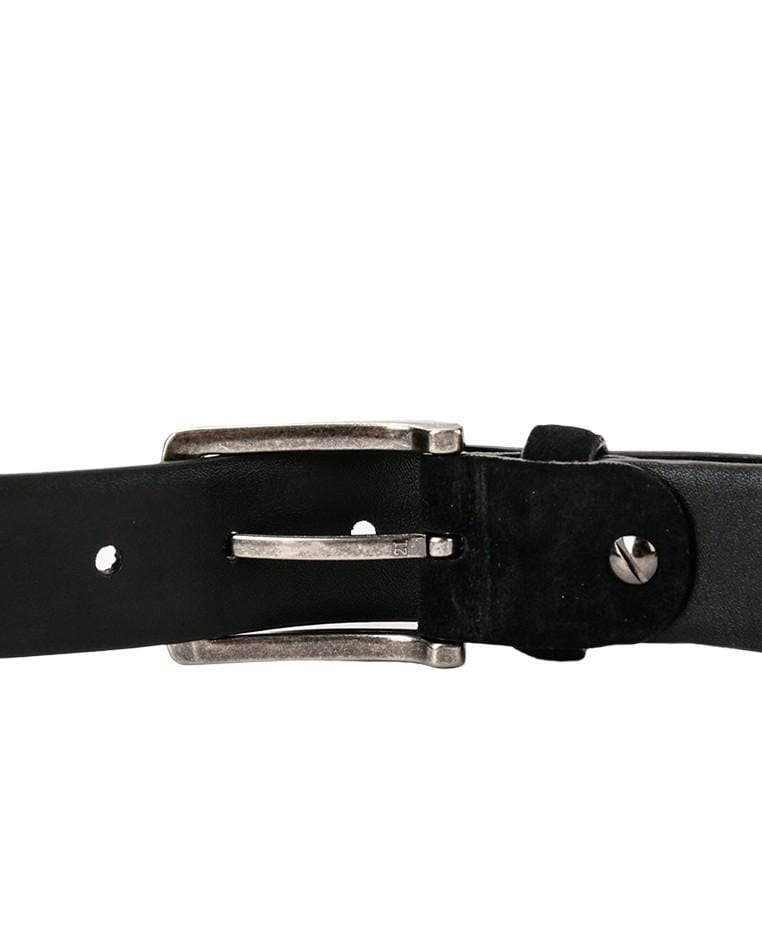 Suede Slim Pin Buckle Top Grain Leather Belt - Black