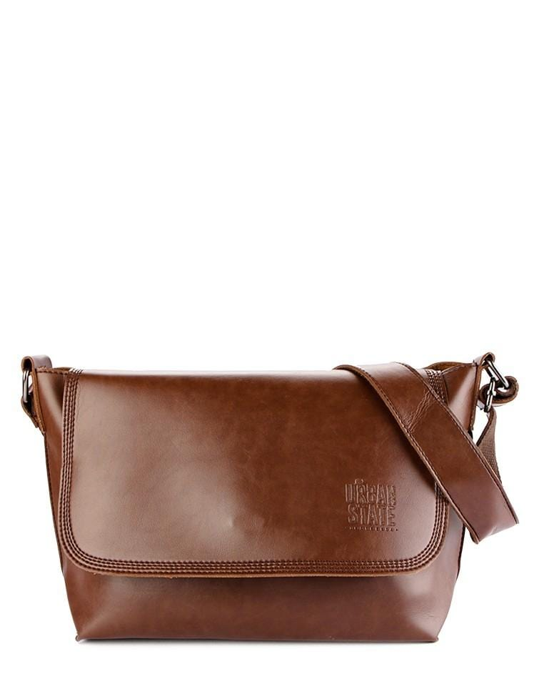 Distressed Leather Flap Medium Shoulder Bag - Dark Brown Messenger Bags - Urban State Indonesia