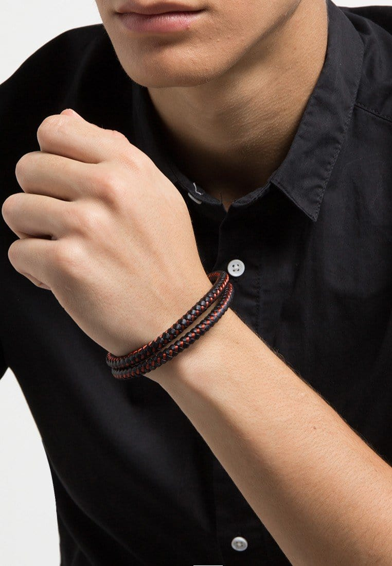 Double-Wrap Leather Bracelet - Black Red Bracelets - Urban State Indonesia