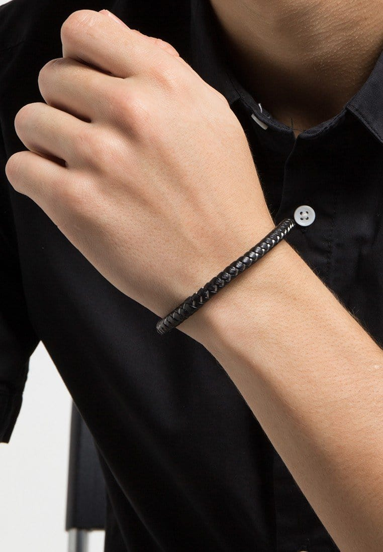 Single-Wrap Leather Bracelet - Black