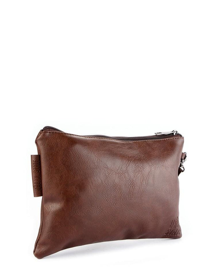 Distressed Leather Pouch Clutch - Dark Brown Clutch - Urban State Indonesia