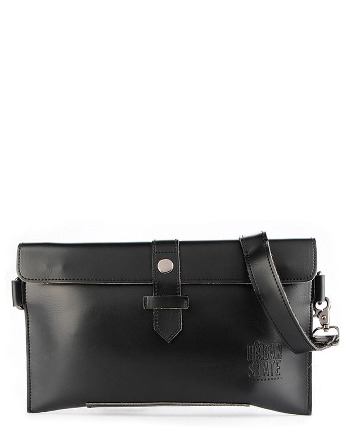 Distressed Leather Hand Strap Clutch - Black Clutch - Urban State Indonesia